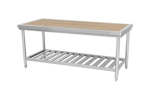 单位食堂厨房设备不锈钢双层面案工作台