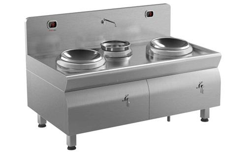 酒店餐饮厨房设备大功率商用不锈钢双头电磁炒炉