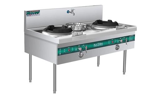 公司单位食堂商用燃气炉灶设备不锈钢节能双头一尾炒炉